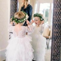 Flower Girl Dress Party Wedding Princess Lace White Tulle Long Sleeves Dresses