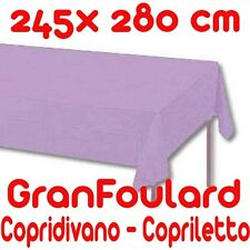 Telo Arredo Copridivano Copriletto GranFoulard copritutto Cotone Lilla 245x280cm