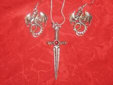"PEWTER HALLOWEEN SWORD RED CRYSTAL 18"" CHAIN NECKLACE SILVER DRAGON EARRINGS SET"