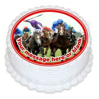 Horse racing birthday personalised round cake topper icing
