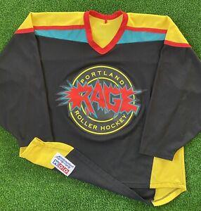 Rare Vintage CCM RHI Portland Rage Roller Hockey International Jersey 90s Maska