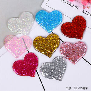 8 pcs DIY Resin Plastic Cabochons 31x36mm Heart Shaped Flatbacks Decorations