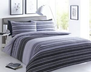 Textured Striped Black/Grey Duvet Cover Set Super King Size With Pillowcases