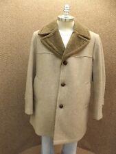 Super Nice Vtg Brown Wool Faux Shearling Fall Winter Overcoat Car Coat Mens 44S