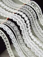 NARROW 10-20mm LACE RIBBON TRIM White Bridal Shabby Chic Cards Sewing florist