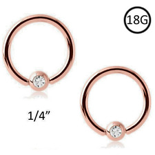"2 PCS 18G 1/4"" Dainty Rose Gold Plated Captive Bead Nose Ring Hoop Tiny 18 Gauge"