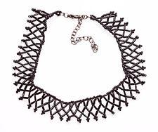 90s GOTH GIRL SHINY BLACK DIAMOND-WOVEN RIBBON CHOKER, ADJUSTS 9CM(ZX46)