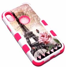 For iPhone X - EIFFEL TOWER PARIS ROSES HARD SOFT HYBRID RUBBER ARMOR CASE COVER
