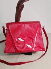Vintage Charles Jourdan Spain Red  Leather Bow  Purse  Handbag  Shoulder