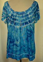 LIVE & LET LIVE Tie Dye Sublimation Hi Lo Blue & White Stretch Tunic Top Sz L