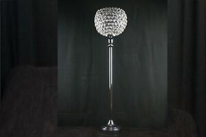 """[IMPERFECT] 37"""" Silver Octagon CRYSTAL Ball Candle Holder Event Centerpiece"""