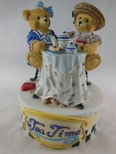 """San Francisco Music Box Tea Time Hand Painted Plays Tea for Two 5"""" x 4"""" Resin"""