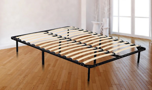 Metal Bed Frame Base for Queen Size Mattress With Wooden Slats.