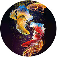 5D Full Round Drill Diamond Painting Fish DIY Cross Stitch Wall Embroidery