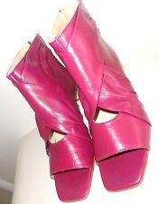 CHIC Sandales Escarpins Low Boots Guêtre Cuir drapé Rose Framboise zip ZARA T 37