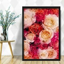 Abstract Floral Art PRINT of Original Watercolour Pink Roses Textured