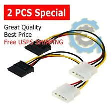 2X New IDE/Molex 4-Pin Male To Serial ATA SATA 15-Pin Female Power Adapter Cable