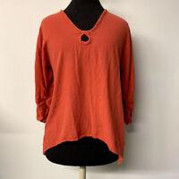 Oh My Gauze Coral Orange Keyhole Top Handkerchief Hem Lagenlook Boho Size 1 S/M