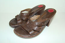 LASSEN Womens Size 10M Brown Leather Sandals Heels