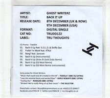(GR972) Ghost Writerz, Back It Up - 2014 DJ CD