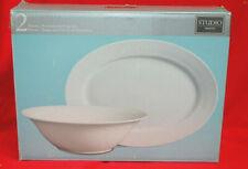 """Gibson Studio White Porcelain Serving Bowl & 14"""" Oval Platter Set New   M4528"""
