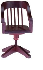 Dollhouse Miniatures 1:12 Scale Swivel Desk Chair, Mahogany #CLA10801