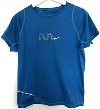 Nike Fit Dry Womens T Shirt Size M 10/12 Blue Sports Running Activewear