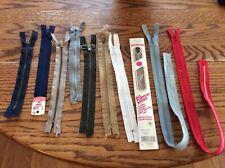 various sewing supplies; zippers, hem facings, rick rack, blanket binding