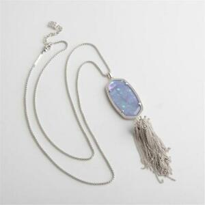 Kendra Scott Rayne Silver Long Necklace in Iridescent Lilac Illusion w Dust Bag