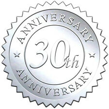 """Elegant SILVER embossed foil anniversry seals """"30th ANNIVERSARY"""" - 50 pack"""