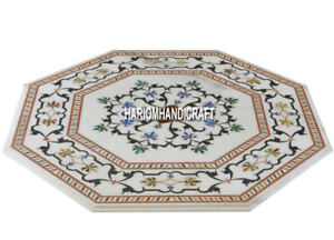 Traditional Italian Art Marble Inlaid Real Decorative Floral End Table Top H3725