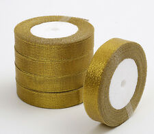 25yards (20mm) Glittering Gold Christmas Ribbon Grosgrain Ribbon Gift Package