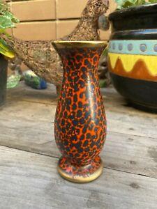 Beautiful Vintage Orange And Black German Lava Vase
