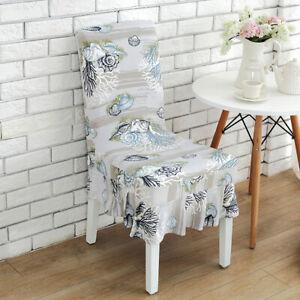 Chair Cover Elastic Soft Ruffled Tropical Seashells Wedding Banquet Stretchy