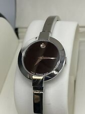 Movado Womens Bela Watch Stainless Steel Black Dial Sapphire Crystal #202