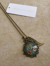 Ladies,Fashion,Floral,Bronze,Glass dome,Cabochon,Chain,Necklace