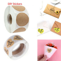 500PCS/Roll  Package Label Cookie Bags Kraft Stickers Cards Sealing Box Paper