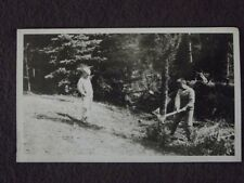 YOUNG BOYS CHOPPING DOWN SMALL TREE WITH AN AXE Vintage 1927 PHOTO