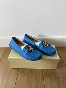 Women's Michael Kors Blue Soft Leather Loafer Shoes UK 4 37 In Box Worn Once