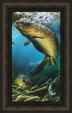 BROWN TROUT by Dan Hatala 14x22 FRAMED PICTURE Fish Fishing Lake PRINT