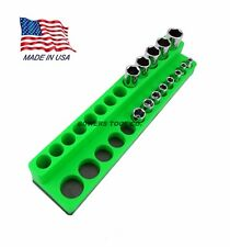 Mechanics Time Saver 1/4 Drive Magnetic Socket Holder Deep Organizer MTS Green