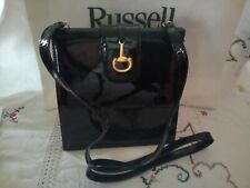 RUSSELL AND BROMLEY BLACK PATENT LEATHER SHOLDER BAG VGC
