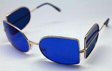 DARK SHADOWS COSPLAY DEPP VAMPIRE WRAP AROUND SUNGLASSES BLUE LENS & GOLD FRAME