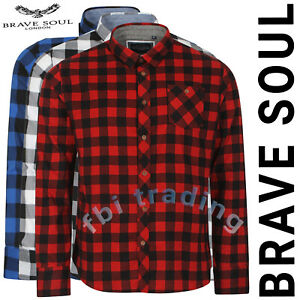 Mens Check Work Shirt Lumberjack Cotton Brushed Flannel Casual Top Brave Soul