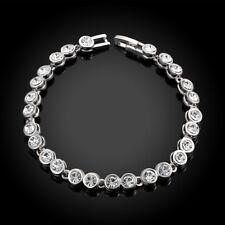 Round Cut White Topaz Tennis Bracelet in 18K White Gold Plated
