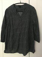 H&M MAMA maternity pregnancy black white dot shirt top size L UK 12 14 16