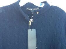 Ralph Lauren Women's Black Label Cashmere Zipper Navy Sweater NWT's Size L.