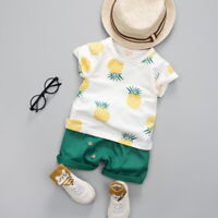 US Cute Infant Toddler Baby Boy Summer T-shirt+Shorts Outfits Pineapple Clothes