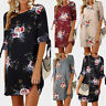 Plus Size Womens Holiday Floral Dresses Ladies Loose Bowknot Sleeves Party Dress