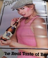 PABST BLUE RIBBON beer poster PBR 1982 Sipp'n Lady Straw Advertisement Man Cave